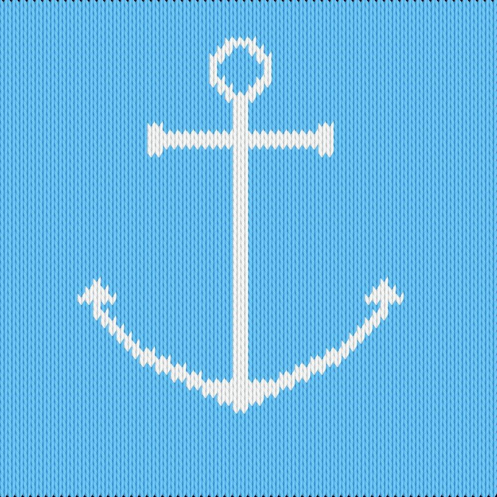 Knitting motif chart, anchor