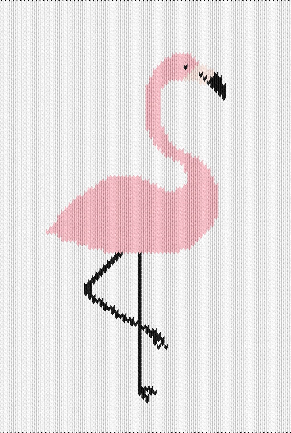 Knitting motif chart, flamingo
