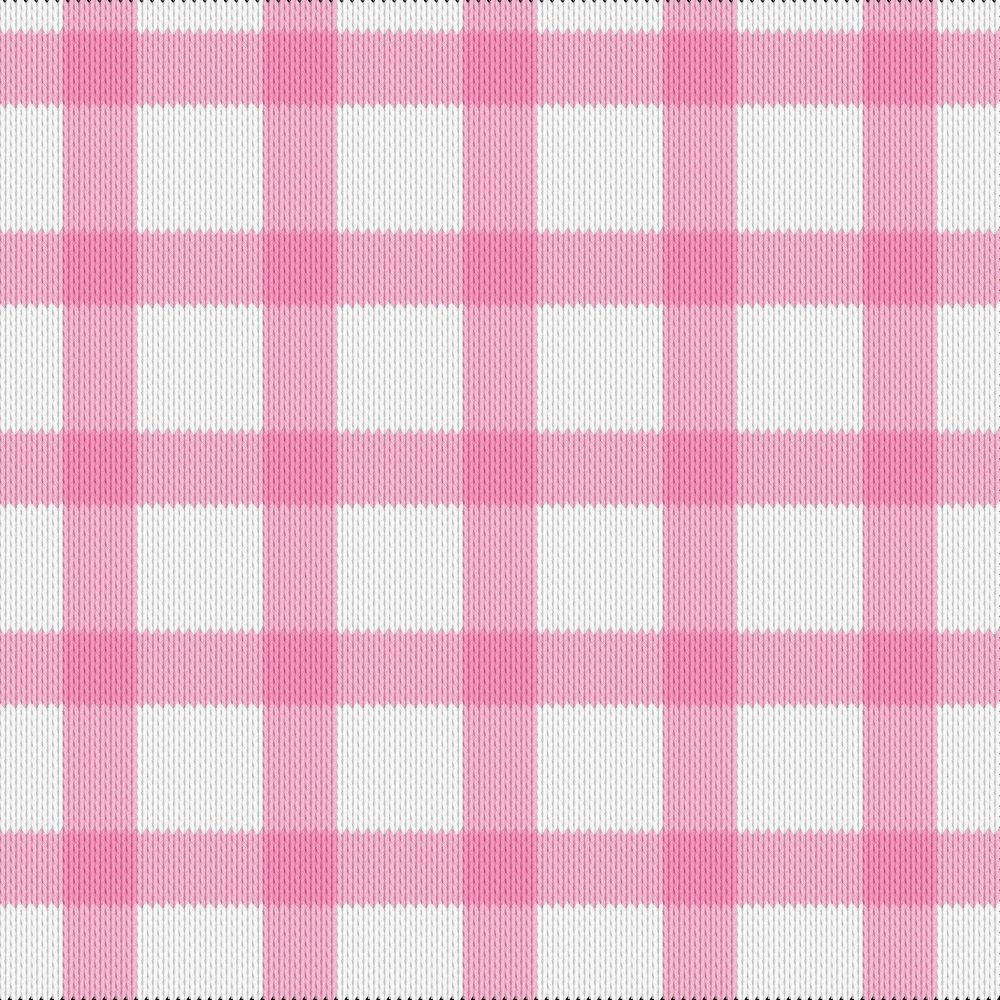 Knitting motif chart, gingham pink