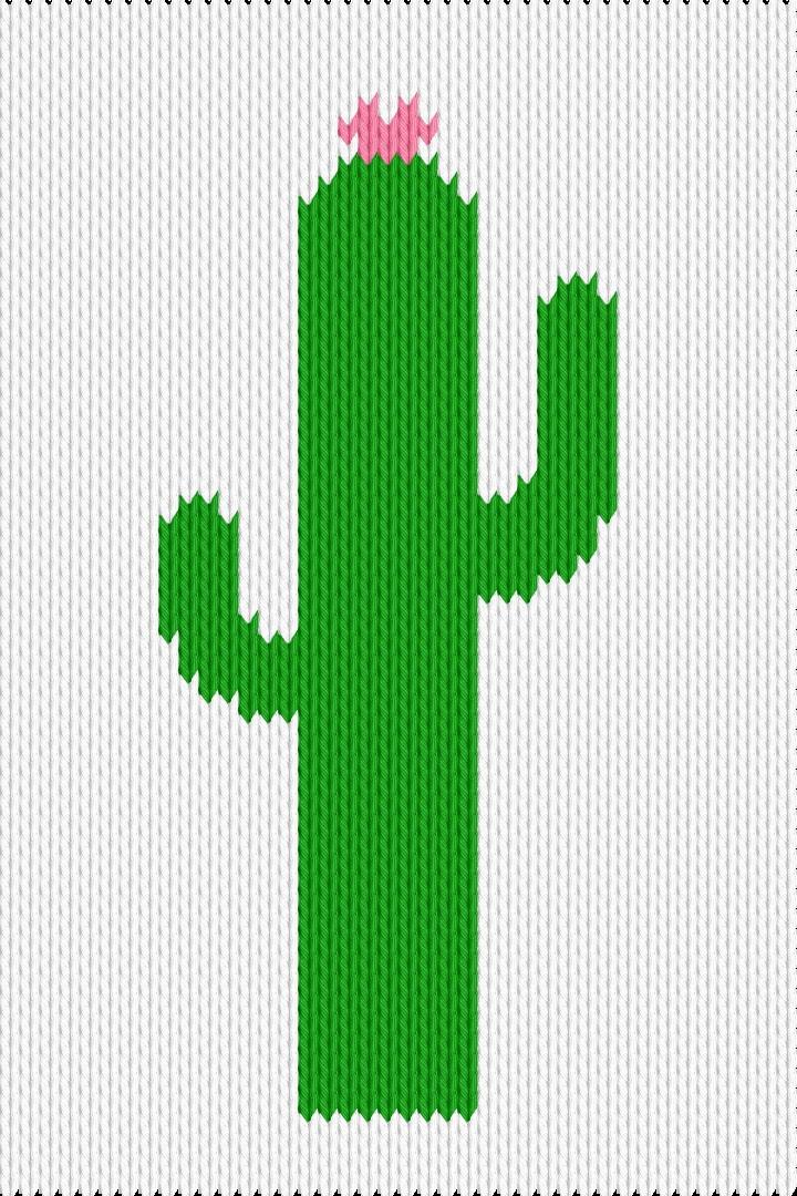 Knitting motif chart, cactus