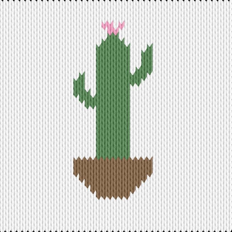 Knitting motif chart, cactus in a pot
