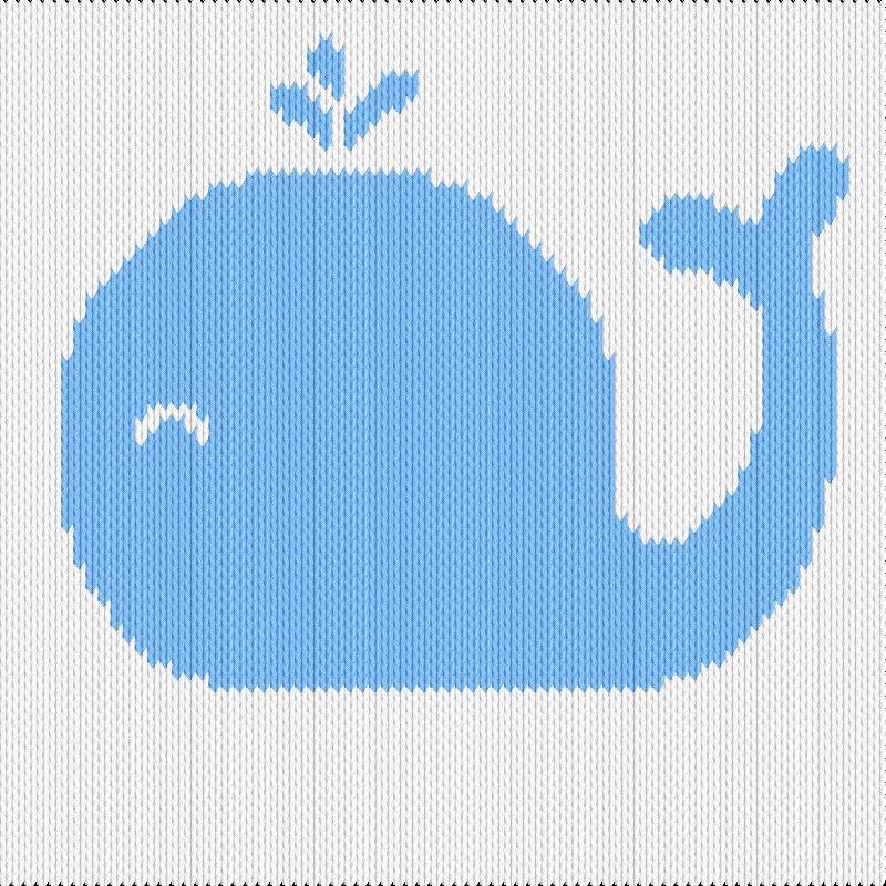 Knitting motif chart, baby whale