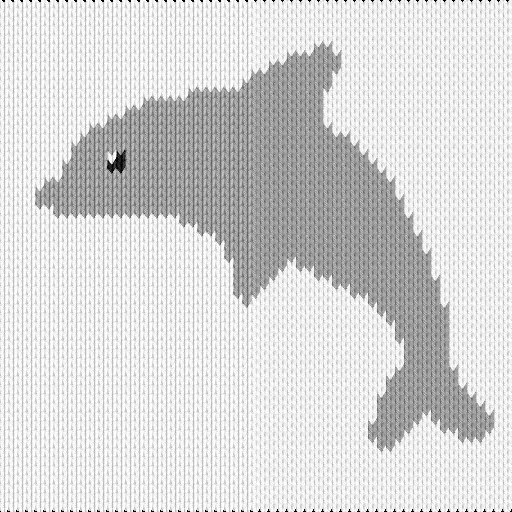 Knitting motif chart, dolphin