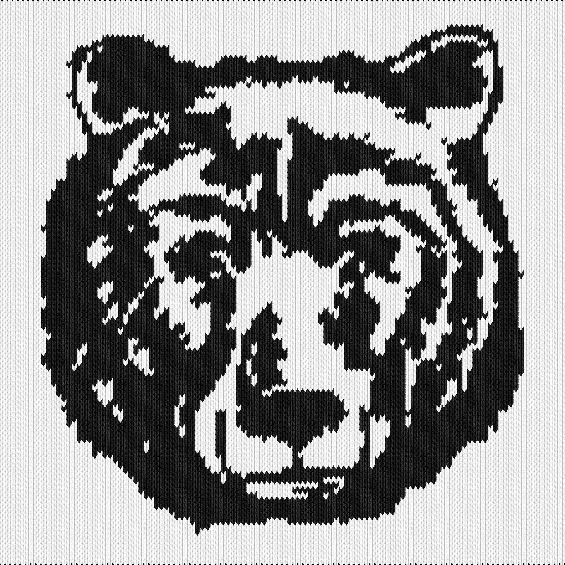 Knitting motif chart, Bear face