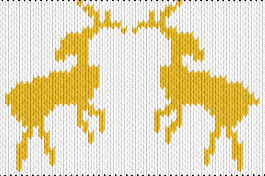 Knitting motif chart, Two deer