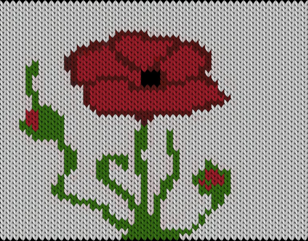 Knitting motif chart, Poppy