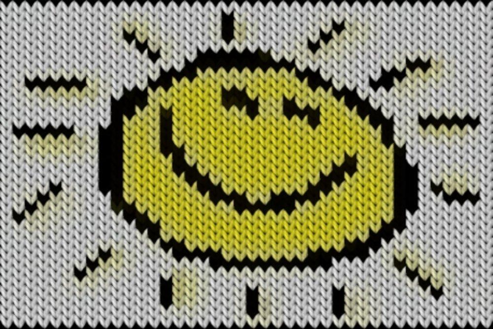 Knitting motif chart, Sun