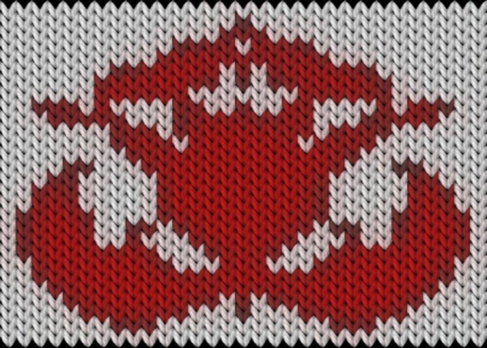 Knitting motif chart, Kalocsai flower