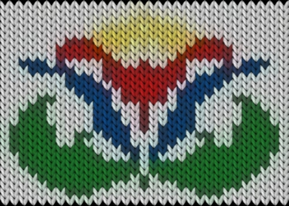 Knitting motif chart, Kalocsai colorfull flower