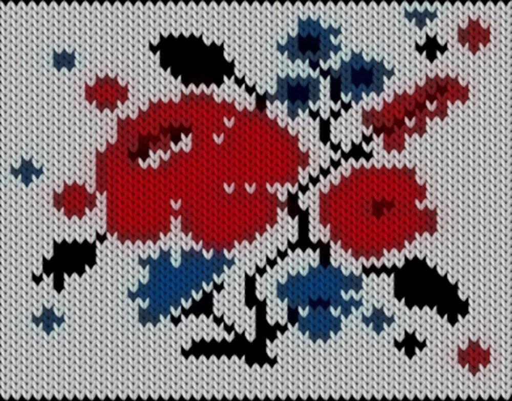 Knitting motif chart, Kalocsai blue red flowers