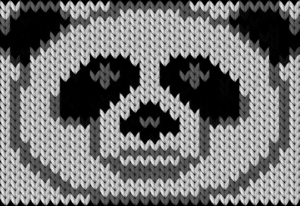 Knitting motif chart, Panda