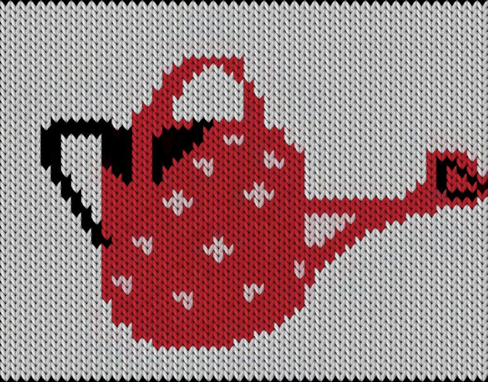 Knitting motif chart, Watering can