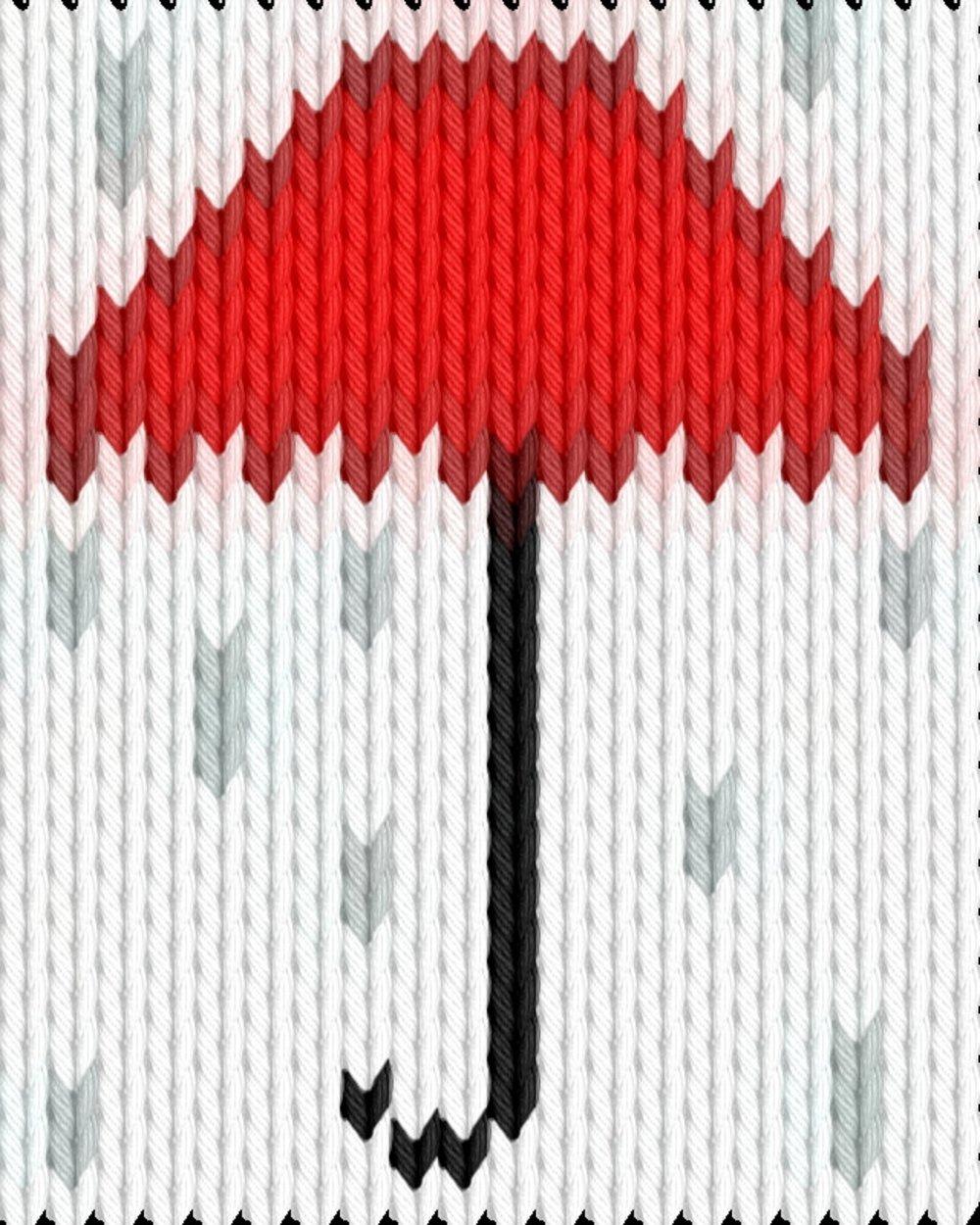 Knitting motif chart, Umbrela