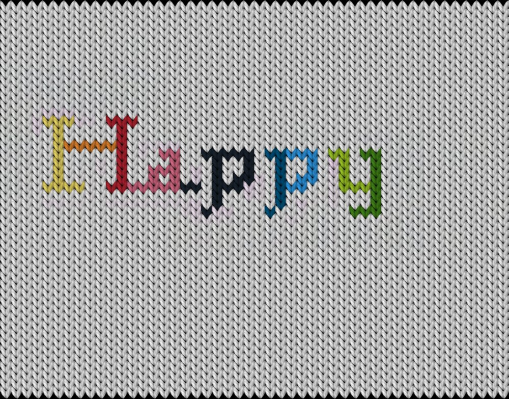 Knitting motif chart, Happy