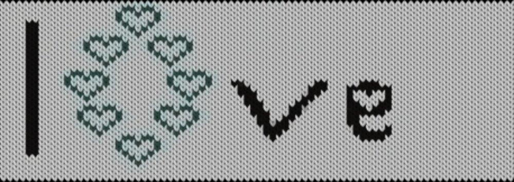 Knitting motif chart, Love
