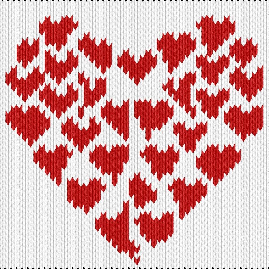 Knitting motif chart, Valentin hearts