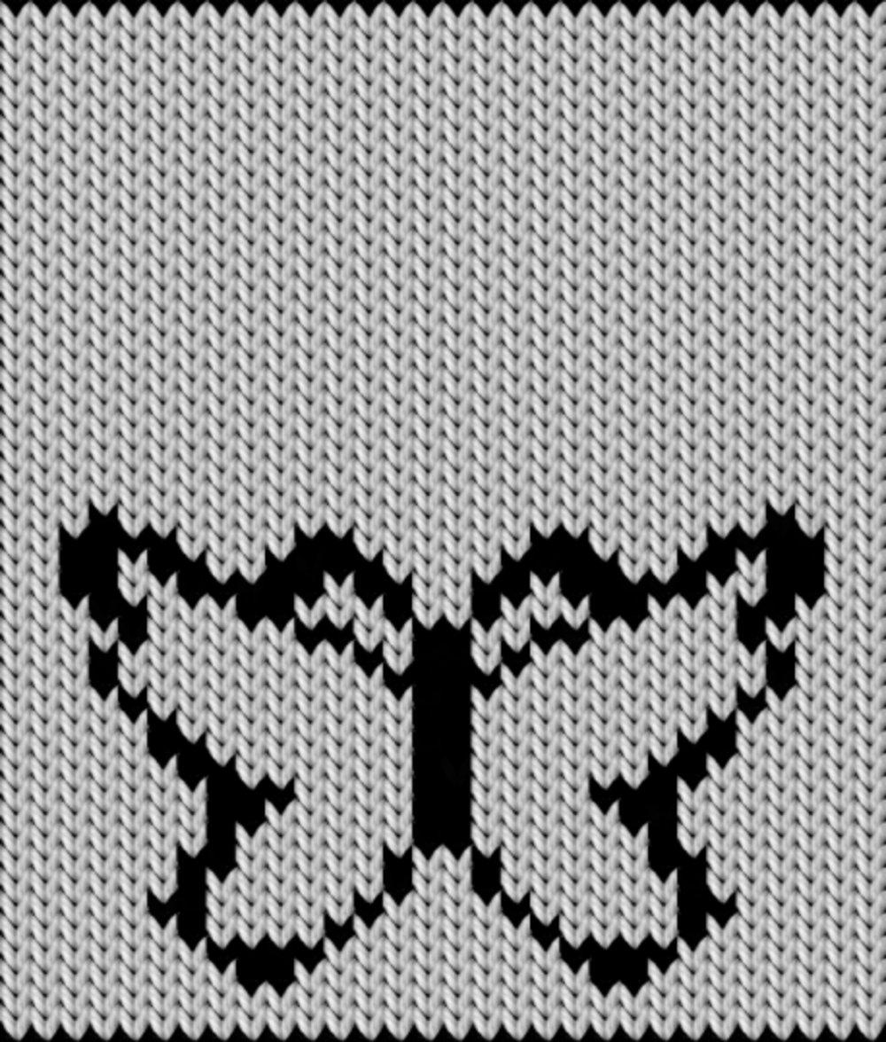 Knitting motif chart, Butterfly