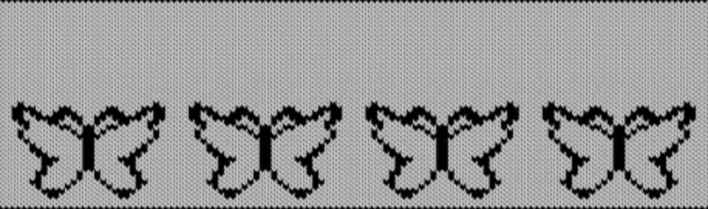 Knitting motif chart, Butterflys