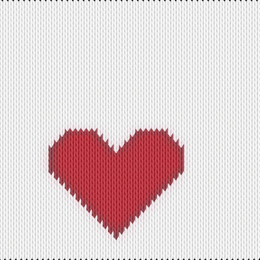 Knitting motif chart, heart