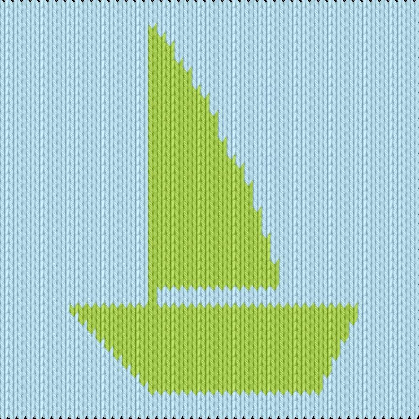 Knitting motif chart, sailboat
