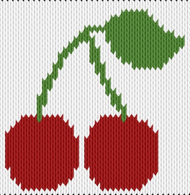 Knitting motif chart, Cherry