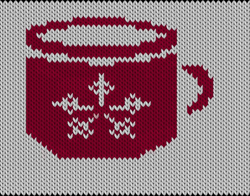 Knitting motif chart, tea cop