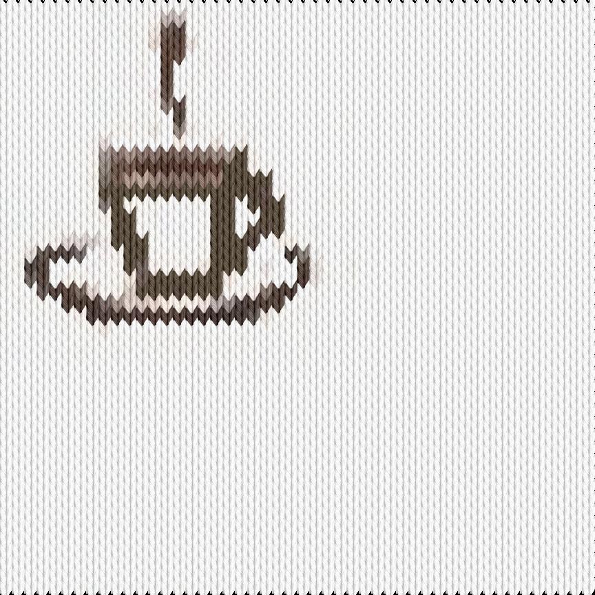 Knitting motif chart, coffee