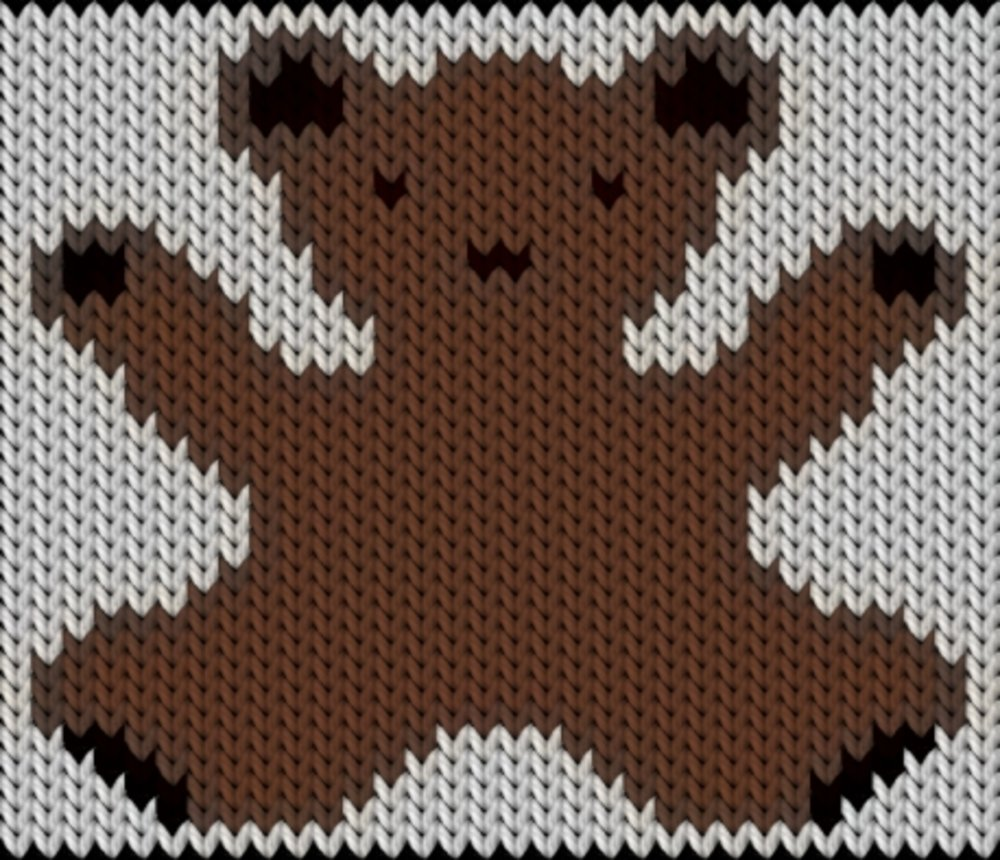 Knitting motif chart, teddy bear