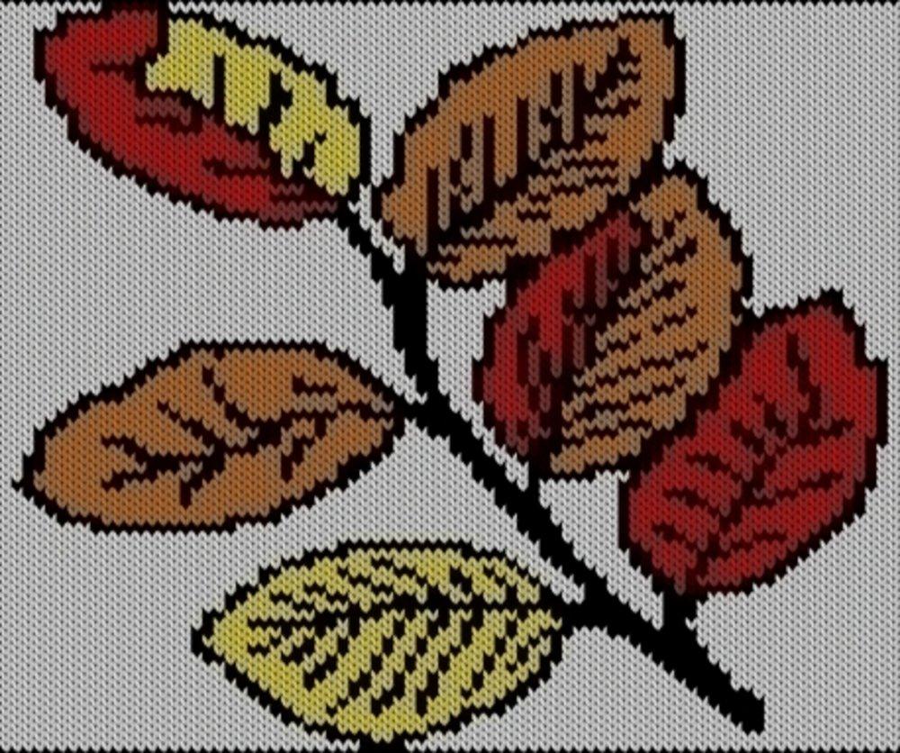 Knitting motif chart, Beech tree leave