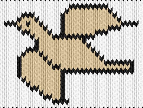 Knitting motif chart, Flying bird
