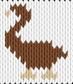 Knitting motif chart, Duck
