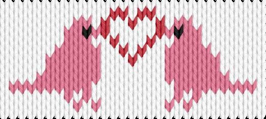 Knitting motif chart, Birds