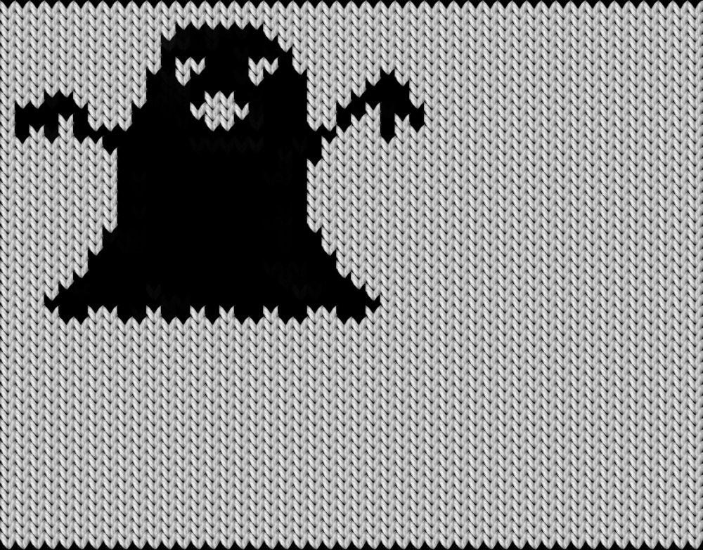 Knitting motif chart, Ghost