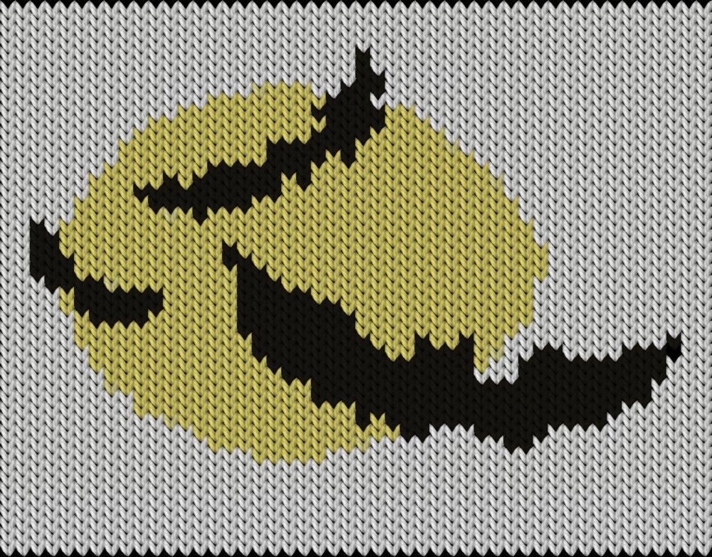 Knitting motif chart, Bat