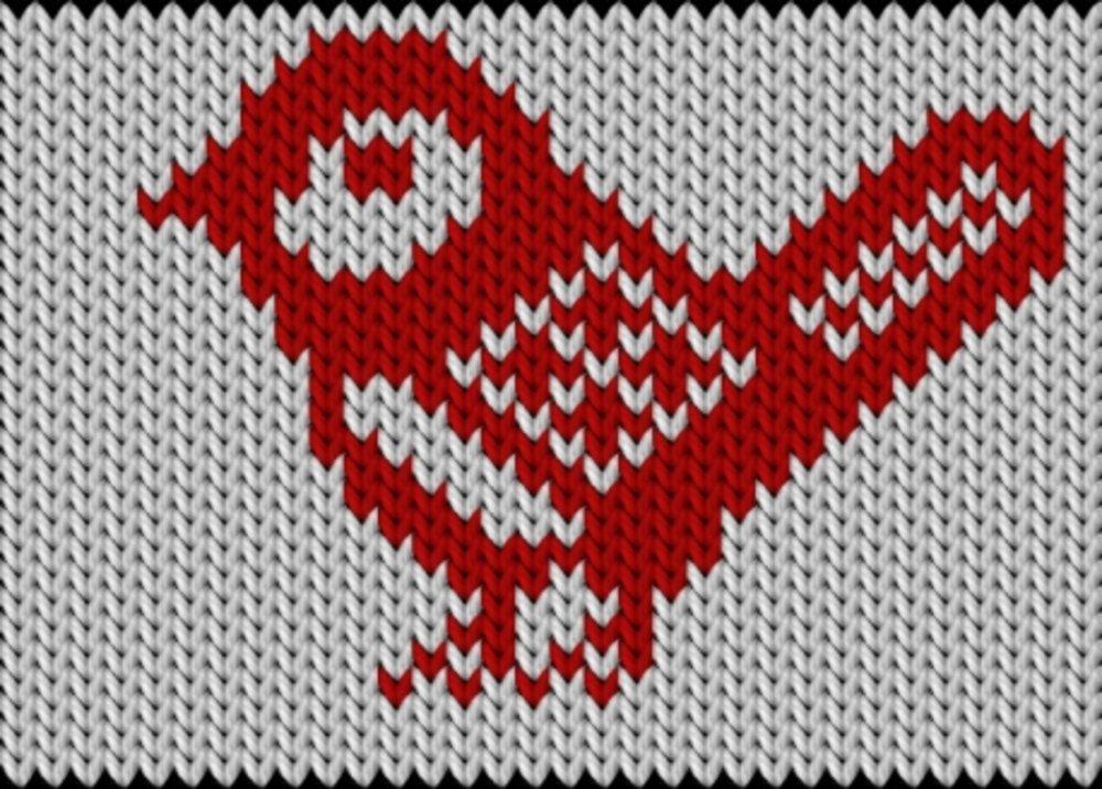 Knitting motif chart, Bird