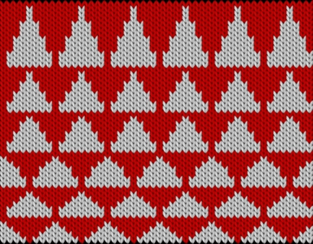 Knitting motif chart, Longer and longer triangles