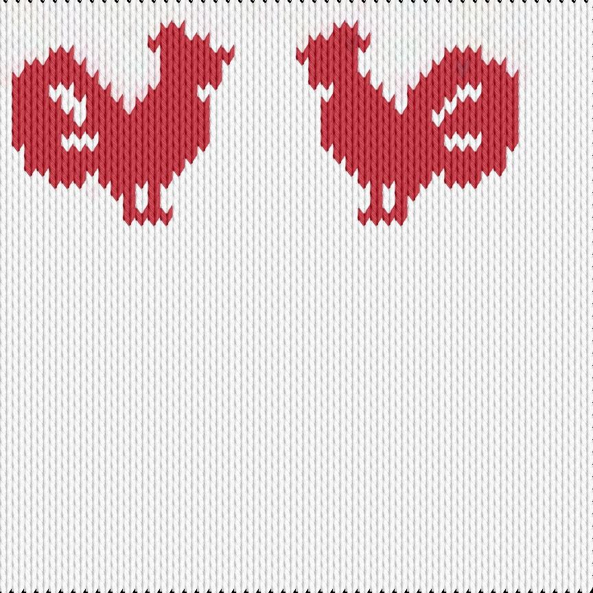 Knitting motif chart, Cock
