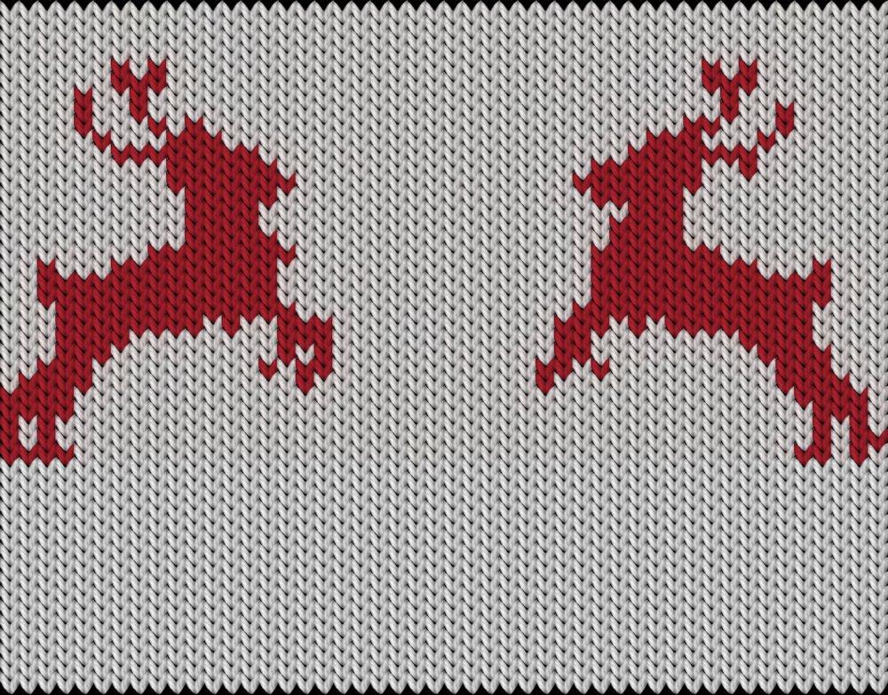 Knitting motif chart, Deers