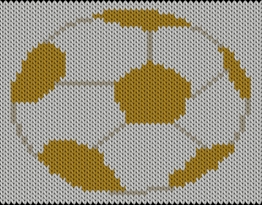 Knitting motif and knitting chart, Soccer ball, designed by Pia Holm