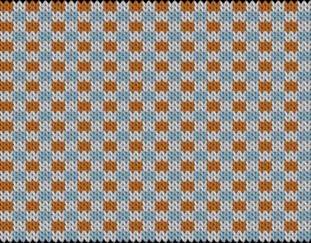 Knitting motif chart, Slip stitch check pattern