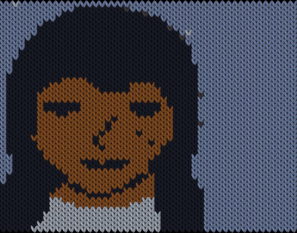 Knitting motif chart, Women face