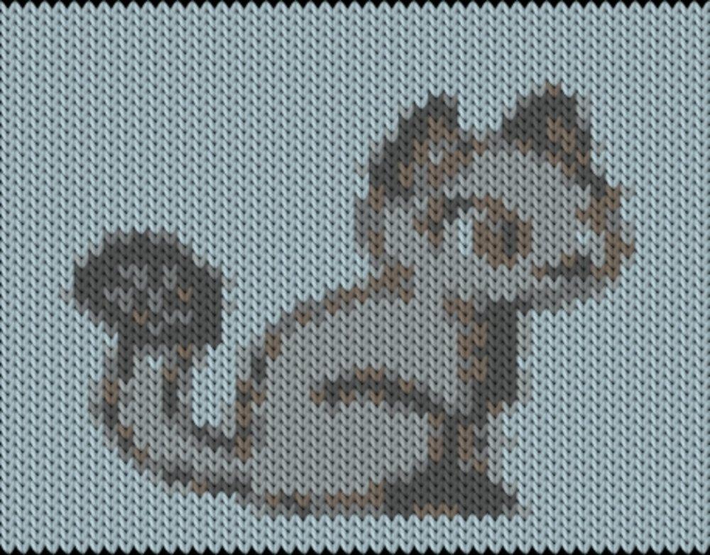Knitting motif chart, Cat
