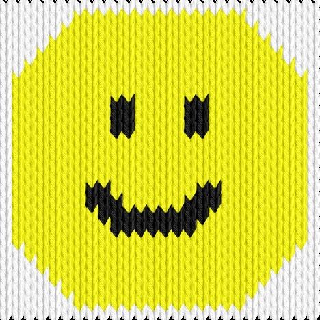 Knitting motif chart, Smile