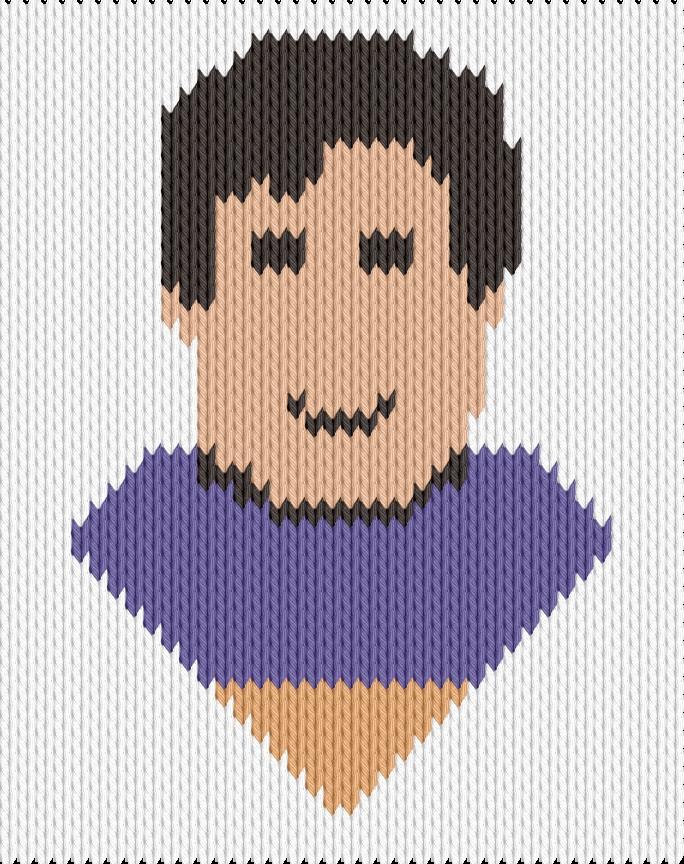 Knitting motif chart, Face
