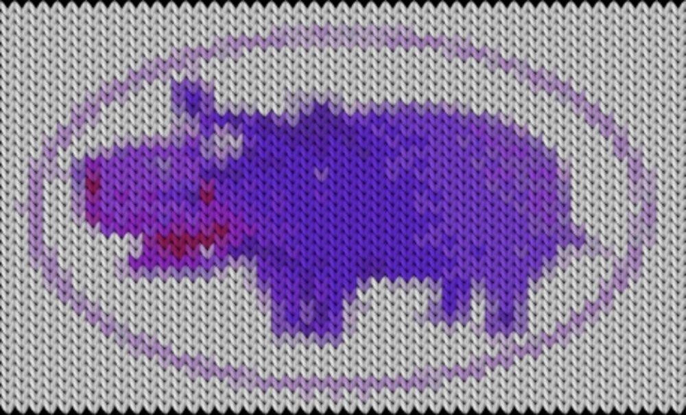 Knitting motif chart, hippo