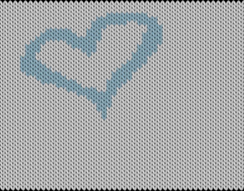 Knitting motif chart, bleu heart