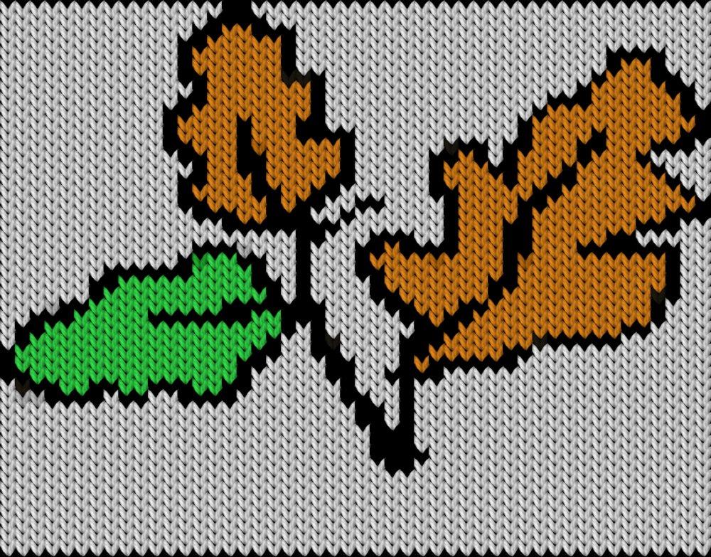 Knitting motif chart, leaf