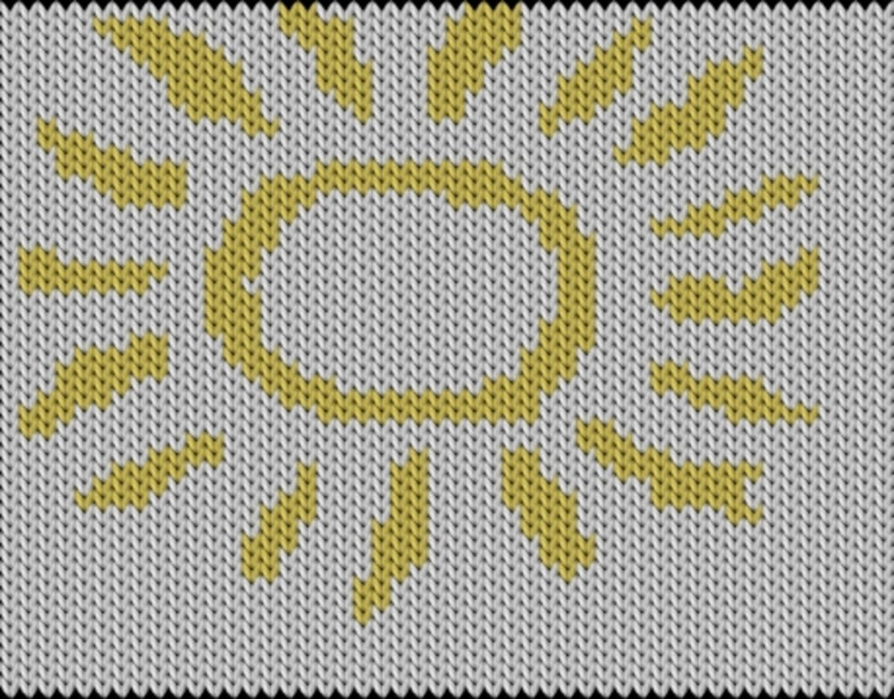Knitting motif chart, sun shine