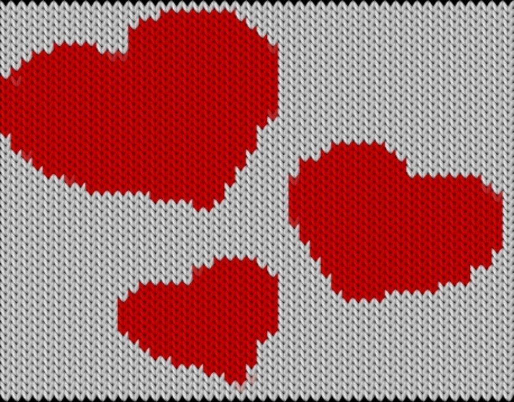 Knitting motif chart, Hearts