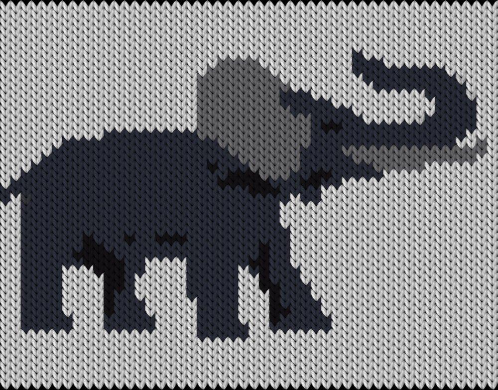 Knitting motif chart, Elefant